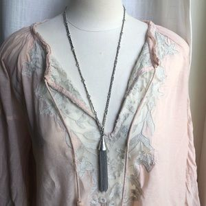 ⭐️ Long, Lucky Brand necklace with tassel, boho